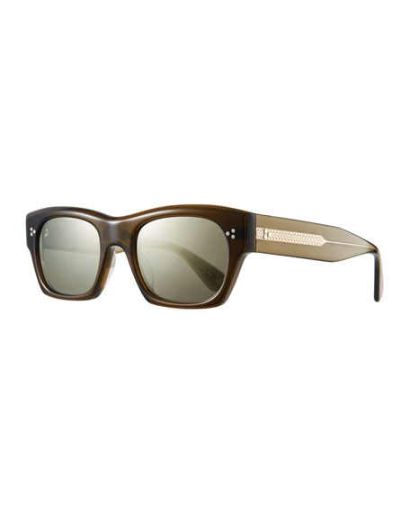Oliver Peoples Men's Isba Mirrored Acetate Sunglasses