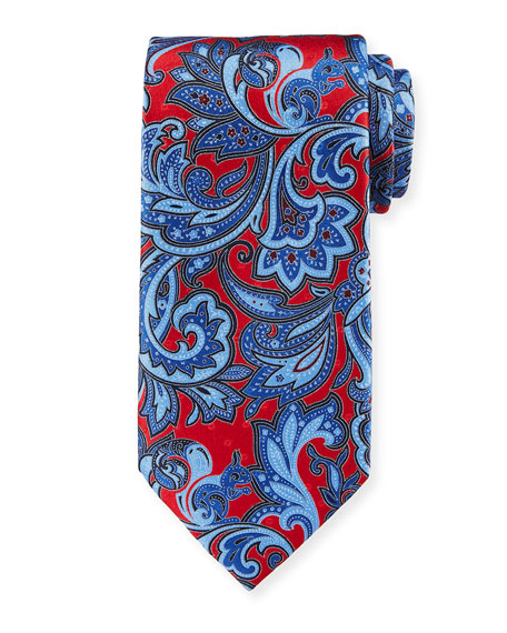 Ermenegildo Zegna Large Paisley Silk Tie, Red/Blue