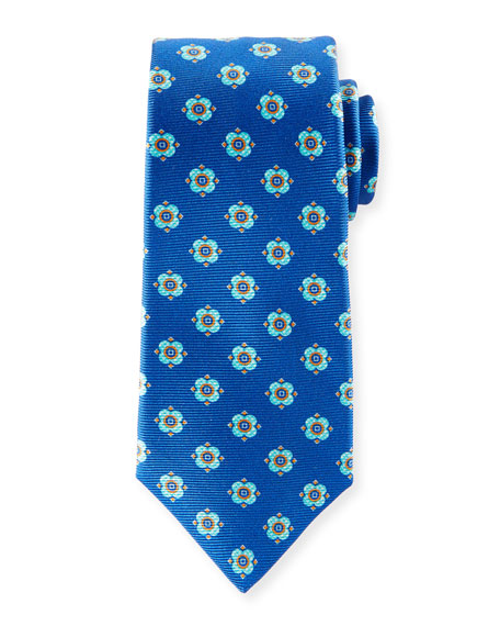 Kiton Flower Dots Silk Tie, Royal