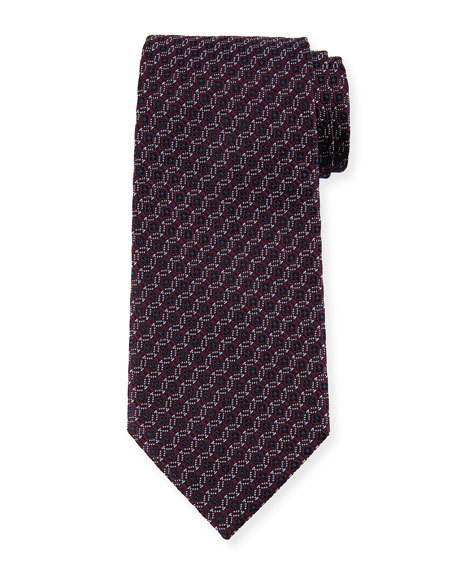Ermenegildo Zegna Box-in-Circle Silk Tie, Purple