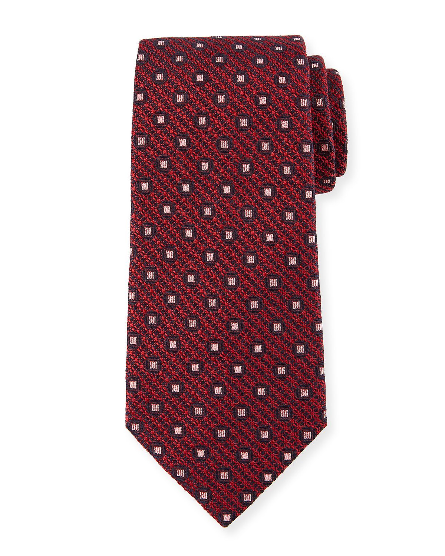 909168f2 Box-On-Jacquard Silk Tie, Red