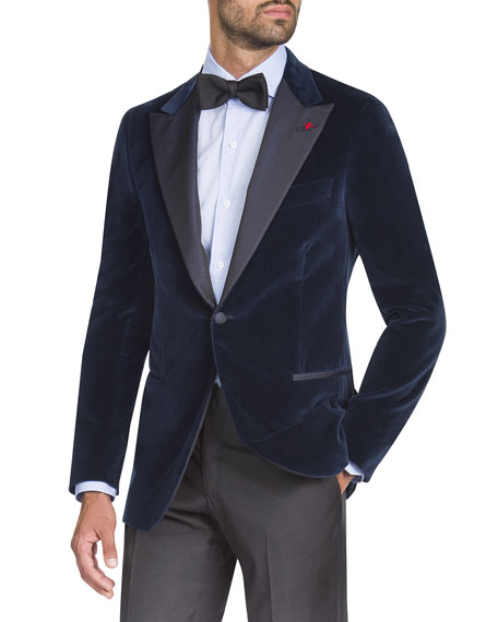 4275f91dbfa Isaia Men's Velvet Satin-Lapel Dinner Jacket | Neiman Marcus