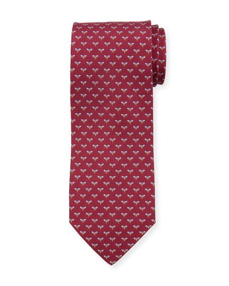 Salvatore Ferragamo Honeybee Silk Tie, Red