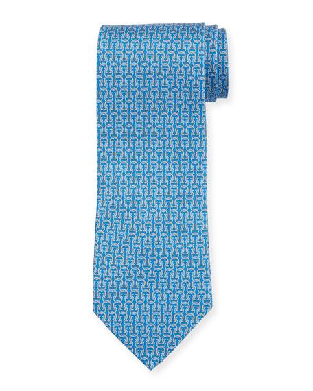 Salvatore Ferragamo Fortuna Linked Gancini Silk Tie, Blue