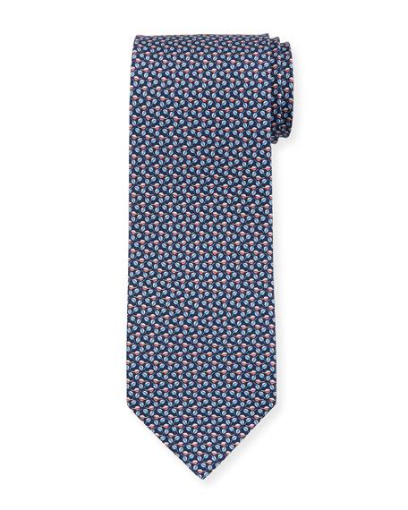 Salvatore Ferragamo Faggio Leaf Printed Silk Tie, Blue