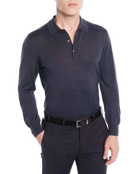 Men's Wool/Cashmere-Blend Long-Sleeve Polo Shirt