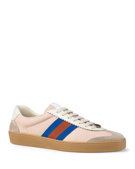 GUCCI Web-Striped Leather & Suede Sneakers - Pink Size 10 M