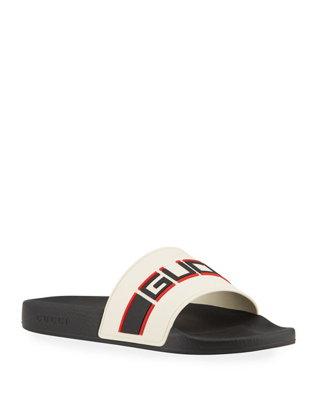 Men'S Stripe Logo Slide Sandals, Red