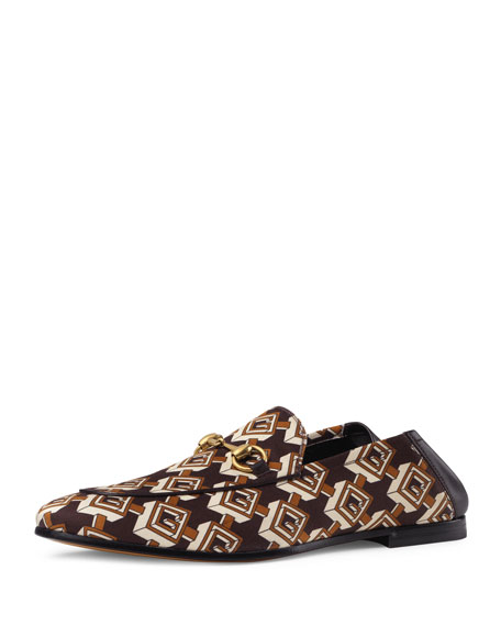 Isometric Logo-Print Satin Loafers - Brown Size 12 M