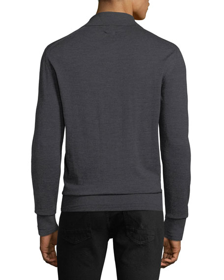 64ff19f3 TOM FORD Men's Long-Sleeve Merino Wool Polo Shirt | Neiman Marcus