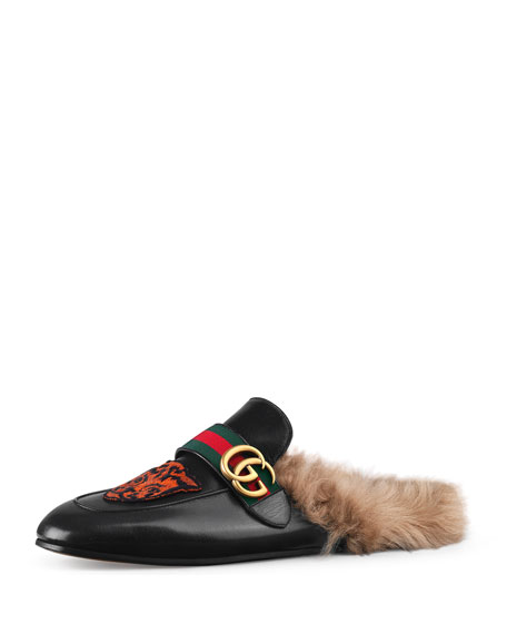 Gucci Princetown Embroidered Slipper with Double G