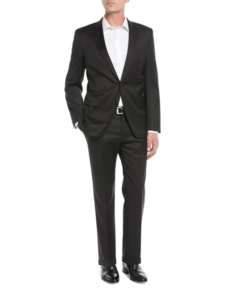 Image 2 of 4: BOSS Men's Stretch-Wool Basic Two-Piece Suit, Black