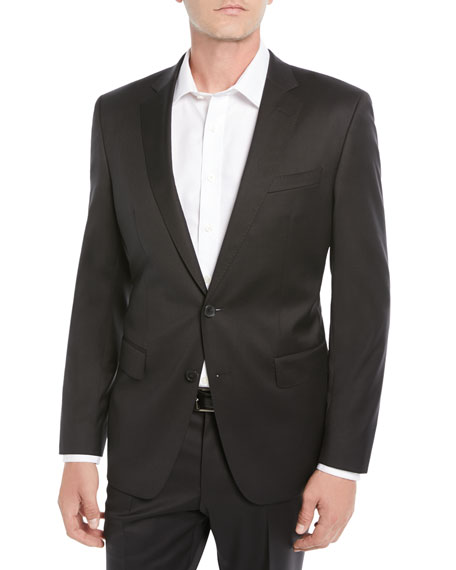 Image 1 of 4: BOSS Men's Stretch-Wool Basic Two-Piece Suit, Black