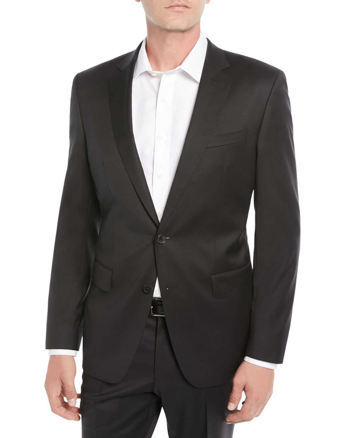 BOSS Men's Stretch-Wool Basic Two-Piece Suit, Black