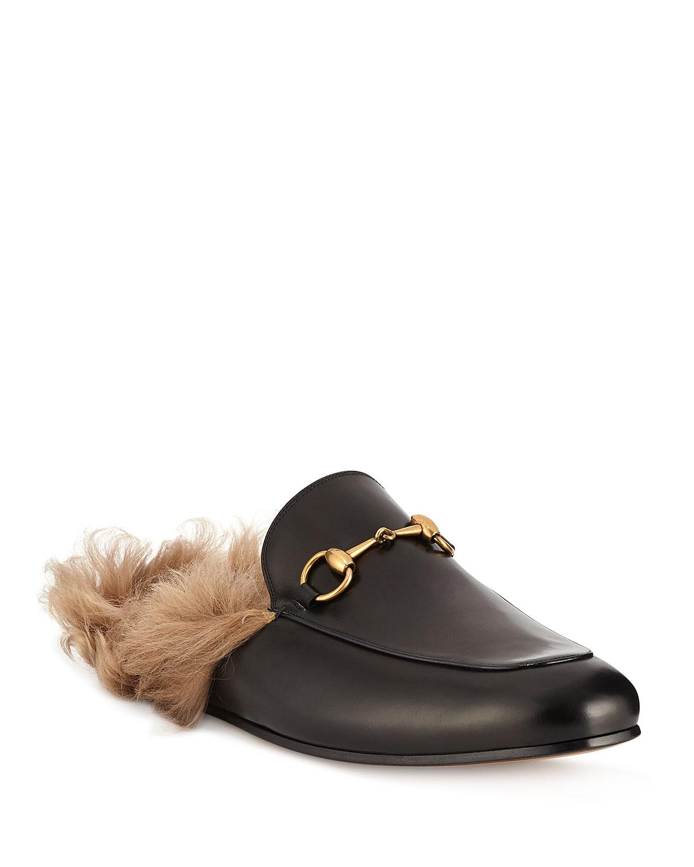 Gucci Men s Princetown Fur-Lined Calf Leather Mule Slipper  3fe176035eab