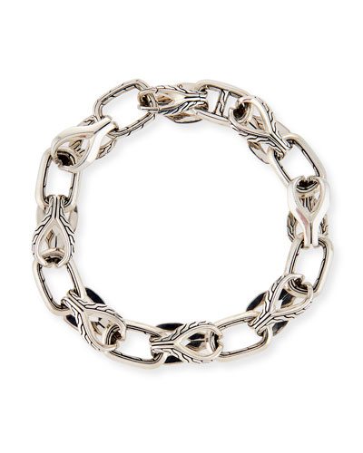 Men's 11mm Classic Chain Silver Link Bracelet w/ Pusher Clasp