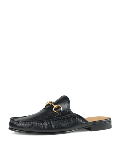 GUCCI Open Roos Horsebit Leather Backless Loafers, Black