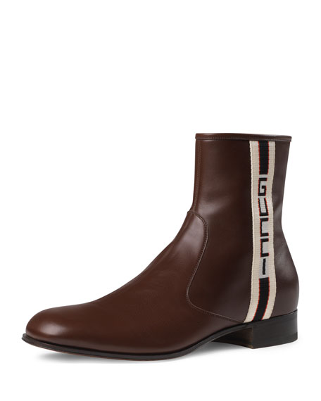 Men's Bonnie Leather Boots with Logo Taping