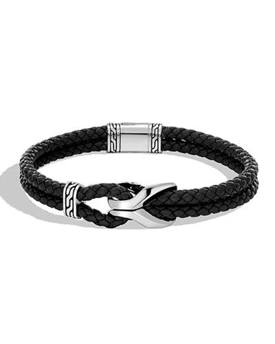 Men's Classic Chain 4mm Woven Leather Bracelet