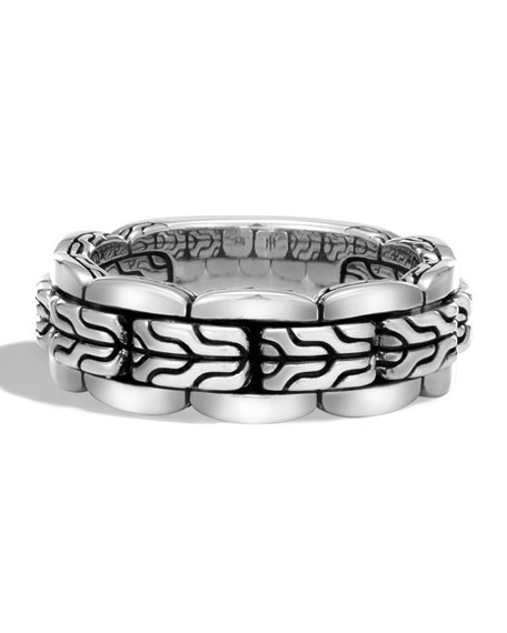 John Hardy Men's Classic Chain 8mm Silver Band Ring