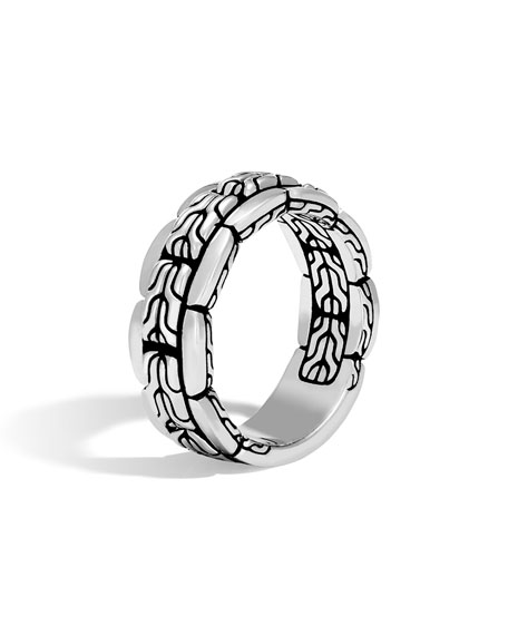 John Hardy Men's Classic Chain 8mm Silver Band Ring