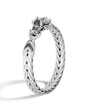 8152875fd1ce John Hardy Men's Legends Naga Silver Medium Bracelet w/ Black Sapphire Pave
