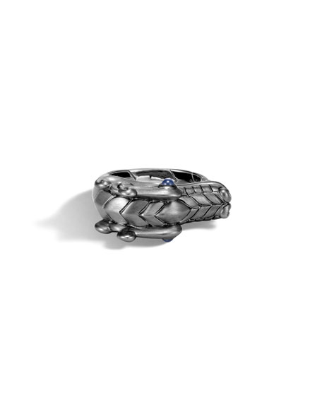 John Hardy Men's Legends Naga Dragon Silver Ring w/ Sapphires