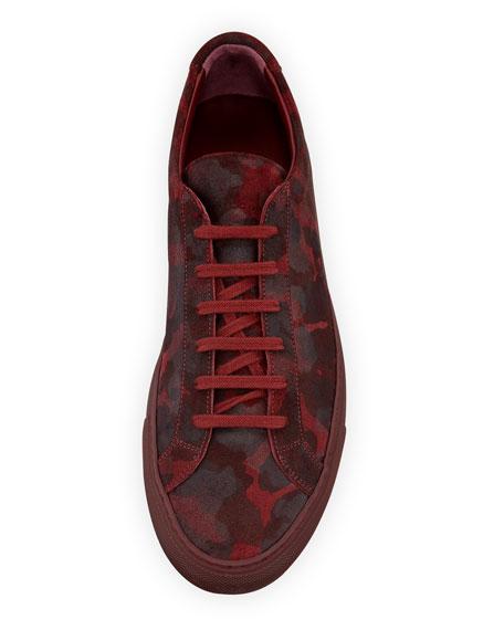 Men's Achilles Camo Suede Low-Top Sneakers, Red
