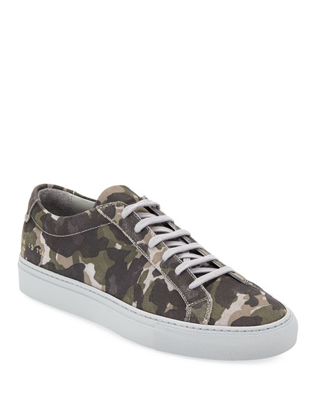 COMMON PROJECTS Men'S Achilles Camo Suede Low-Top Sneakers, Gray