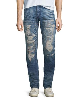 0c471225709 PRPS Men s Le Sabre Ripped Repair Jeans
