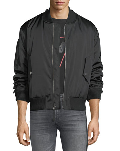 Men's Zip-Front Military-Style Bomber Jacket