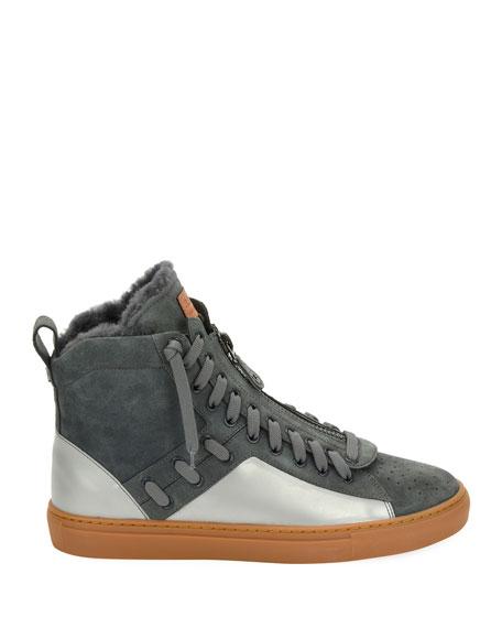 Men's Hekem Fur-Lined Suede High-Top Sneakers