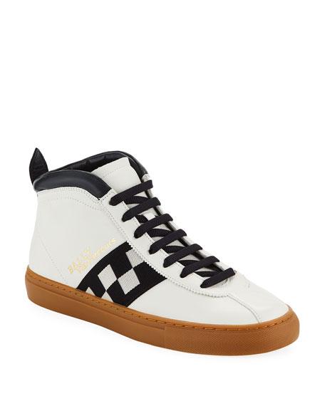 Men's Vita Parcours Retro Lamb Leather High-Top Sneakers