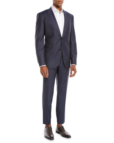 Men's Solid Peak-Lapel Two-Piece Wool/Silk Suit
