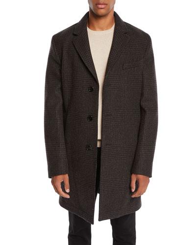 Men's Plaid Wool Top Coat
