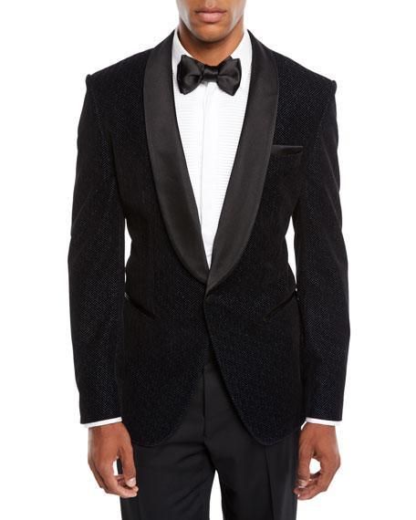 Men's Herringbone Shawl-Collar Tuxedo Jacket