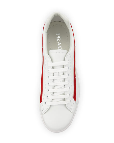 Prada Men's Avenue Vitello Plume Side-Stripe Leather Low-Top Sneakers
