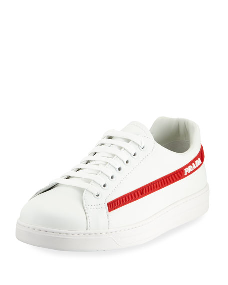 Prada Men's Avenue Vitello Plume Side-Stripe Leather Low-Top