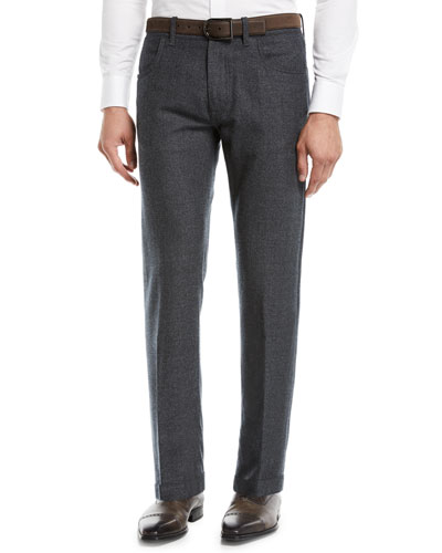 Men's Solid Wool 5-Pocket Pants