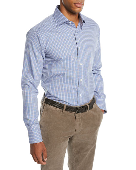 CANALI Men'S Grid Cotton Dress Shirt in Blue