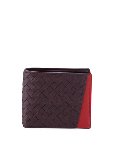 Men's Woven Bi Fold Wallet With External Pocket by Bottega Veneta