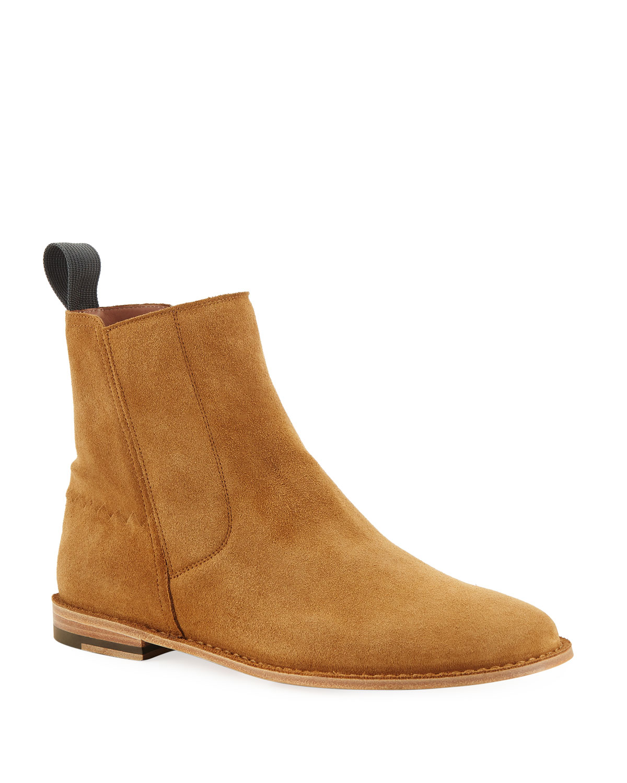 c9c8a23776b5 Bottega Veneta Men s Spritz Suede Side-Zip Chelsea Boots