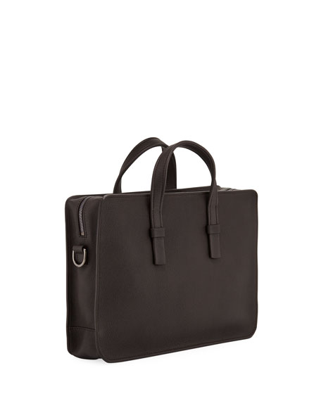 Men's Tumbled Calf Leather Briefcase, Brown