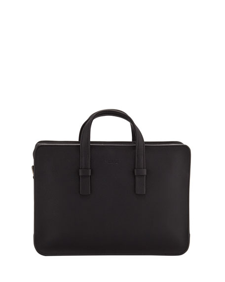 Men's Tumbled Calf Leather Briefcase, Black