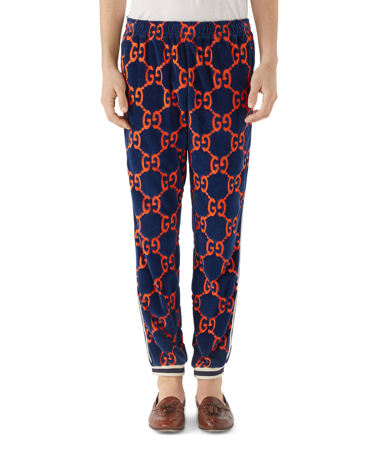 gg-logo-print-chenille-track-pants by gucci