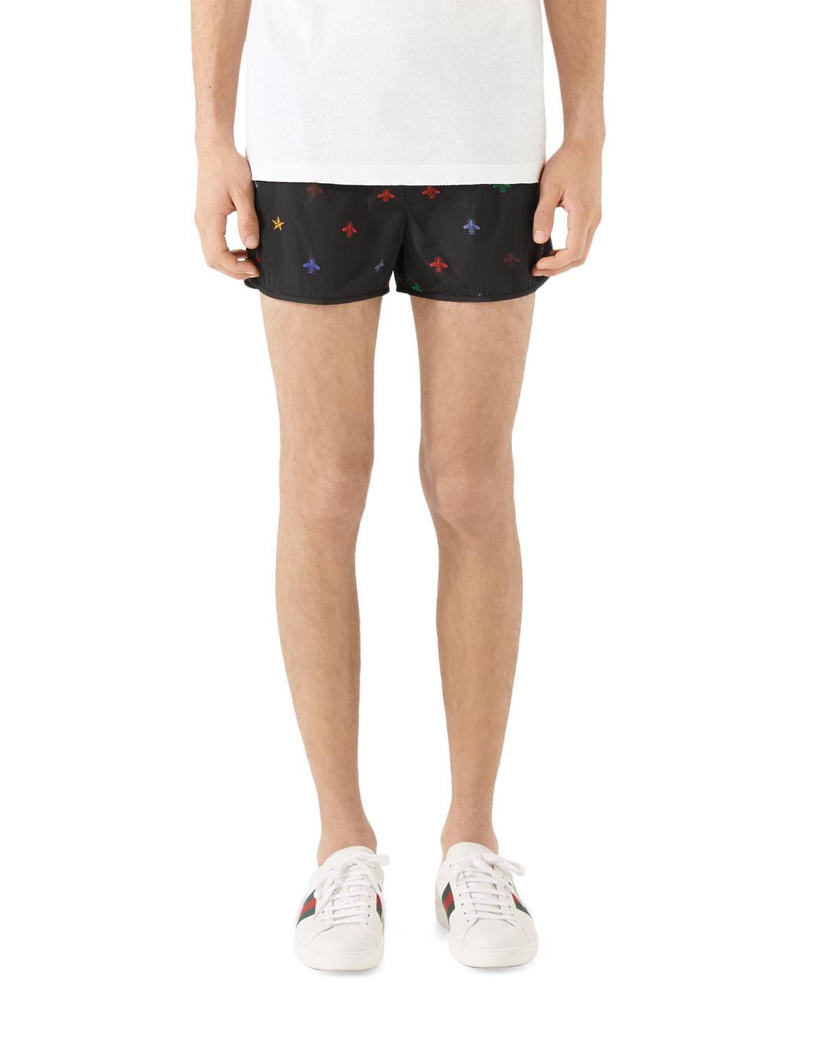 e54b1c99bb Gucci Men's Signature Bee-Embroidered Short Swim Trunks | Neiman Marcus