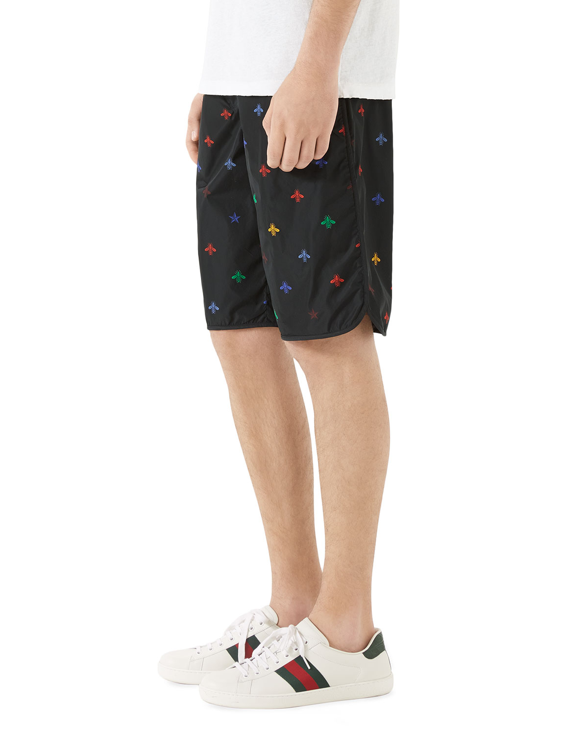 524d159996 Gucci Men's Signature Bee-Embroidered Long Swim Trunks | Neiman Marcus
