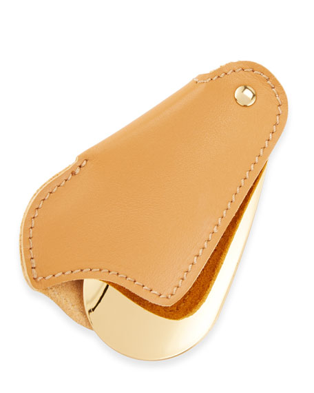 Golden Travel Shoe Horn with Leather Case, Light Brown