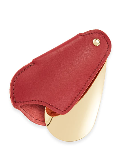 Golden Travel Shoe Horn with Leather Case, Red