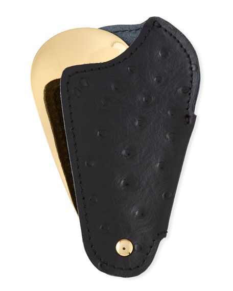 Golden Travel Shoe Horn with Printed Ostrich Leather Case, Black